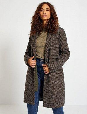 Пальто из материала под шерсть с узором 'гусиные лапки'