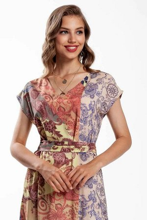 Платье Платье расширенное к низу, длина миди. В боковых швах обработаны разрезы. Съёмный пояс. Такое яркое платье можно успешно обыграть в рамках делового дресс - кода, а также его легко подстроить по