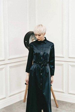 Платье Платье -рубашка полуприлегающего, расширенного к низу силуэта. Воротник стояче-отложной. Рукава платья рубашечные, немного расширены книзу, длина 9/10см. Накладные карманы с шестью отделочными