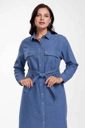 Платье Стильное платье-рубашка из полотна с джинсовым эффектом. Прямой силуэт, со шлёвками в боковых швах и с фигурным низом. Застежка на болты на притачной планке. Накладные декоративные карманы с кл
