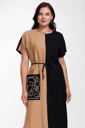 Платье Стильное вискозное платье, комбинированное из двух полотен. Силуэт платья прямой, длина миди. В боковых швах по низу разрезы для удобства при ходьбе. Подчеркнуть талию можно съёмным завязывающи