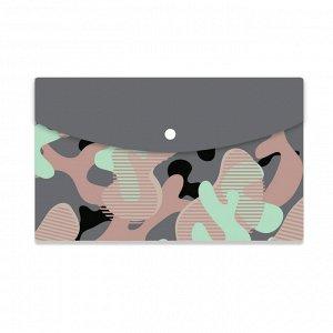 Папка-конверт на кнопке А5 №1School Милитари цветной 2 шт/уп (2 ц...