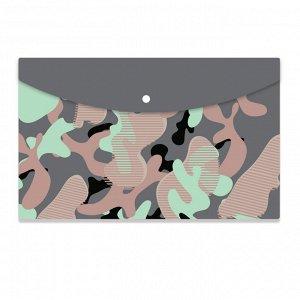 Папка-конверт на кнопке А4 №1School Милитари цветной 2 шт/уп (2 ц...
