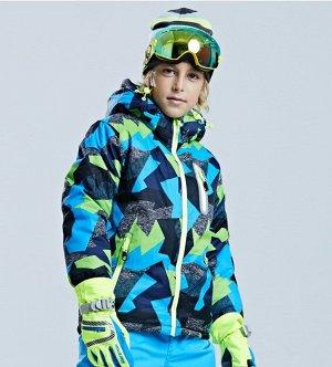 """Детская зимняя мембранная куртка, принт """"Геометрия"""", цвет серый/синий/зеленый"""