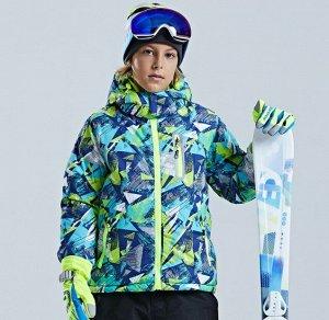 Детская зимняя мембранная куртка с принтом, цвет синий/зеленый