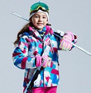 Детская зимняя мембранная куртка с принтом, цвет белый/синий/розовый