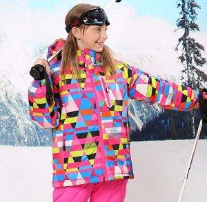 """Детская зимняя мембранная куртка, принт """"Треугольники"""", цвет розовый"""