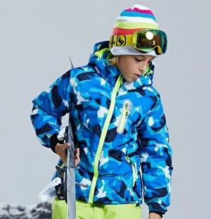 Детская зимняя мембранная куртка с принтом, цвет синий