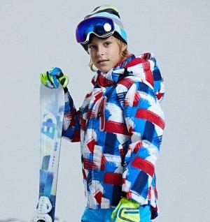 Детская зимняя мембранная куртка с принтом, цвет белый/синий/красный