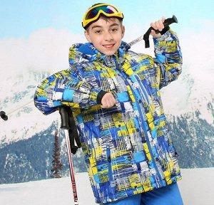 Детская зимняя мембранная куртка с принтом, цвет синий/желтый