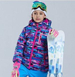 Детская зимняя мембранная куртка с принтом, цвет розовый/фиолетовый/синий