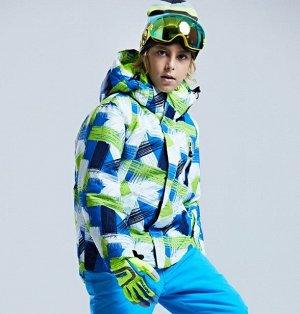 Детская зимняя мембранная куртка с принтом, цвет белый/синий/зеленый