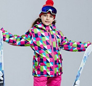 """Детская зимняя мембранная куртка, принт """"Треугольники"""", цвет розовый/зеленый"""