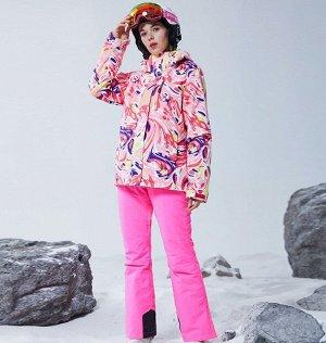 Женский зимний мембранный  костюм (куртка с принтом + брюки, цвет розовый)