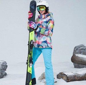 Женский зимний мембранный  костюм (куртка с принтом + брюки, цвет синий)