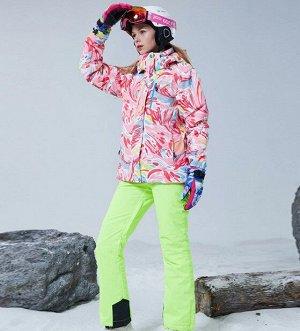 Женский зимний мембранный  костюм (куртка с принтом + брюки, цвет зеленый)