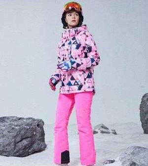 """Женский зимний мембранный  костюм (куртка с принтом """"Геометрия""""+ брюки, цвет розовый)"""