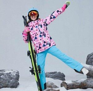 """Женский зимний мембранный  костюм (куртка с принтом """"Геометрия""""+ брюки, цвет синий)"""