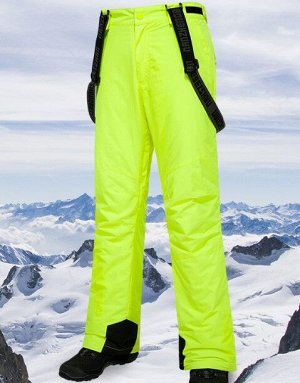 Мужские зимние мембранные штаны на лямках, цвет зеленый