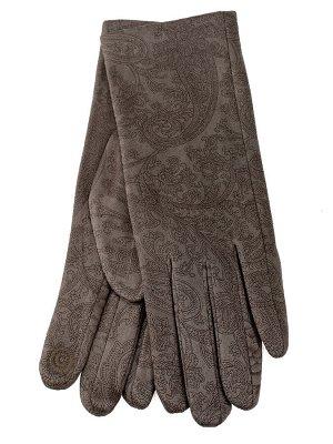 Женские перчатки из велюра, цвет бежевый