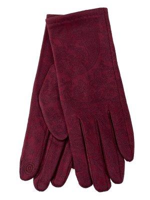 Женские перчатки из велюра, цвет красный