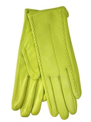 Женские перчатки из натуральной кожи, цвет лимонный