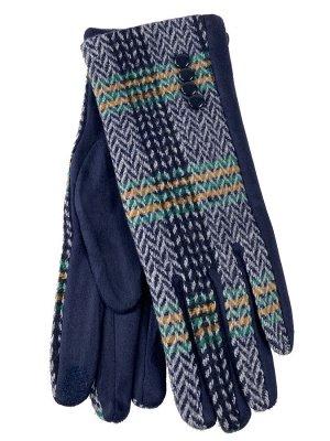 Женские перчатки в клетку из велюра, оттенки синего