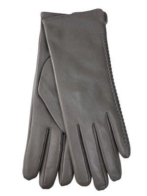 Женские перчатки из натуральной кожи, цвет светло серый