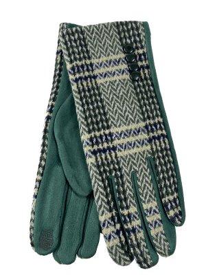 Женские перчатки в клетку из велюра, оттенки зеленого