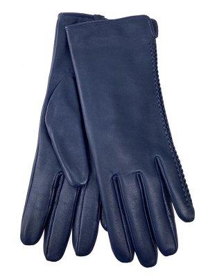 Женские перчатки из натуральной кожи, цвет синий