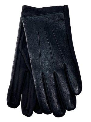 Кожаные мужские перчатки на флисе, цвет черный