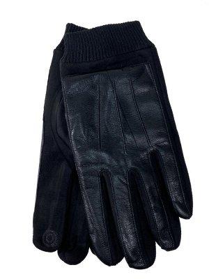 Кожаные мужские перчатки на флисе, цвет чёрный