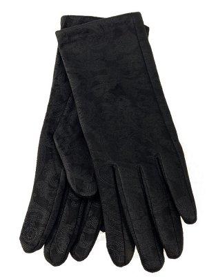 Женские перчатки из велюра, цвет черные