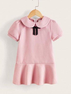 Платье с воротником питер пэн с оборками из твида для девочек