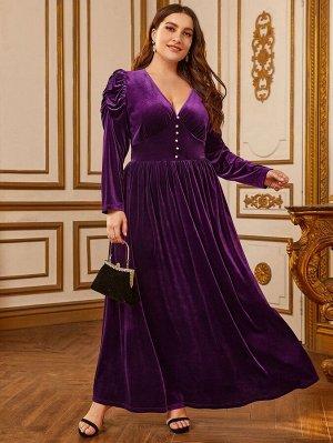 Бархатное платье размера плюс с пышными рукавами и пуговицами