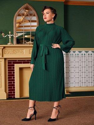Размера плюс Платье с воротником-стойкой с поясом плиссированный