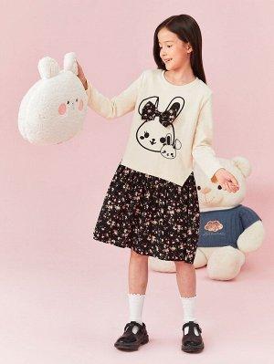 2 в 1 платье с цветочным принтом & с принтом кролика с бантом для девочек