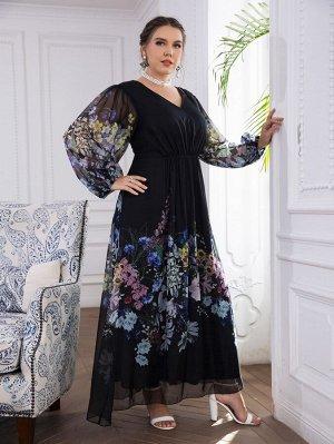 Размера плюс Платье с v-образным вырезом с цветочным принтом с рукавами-фонариками