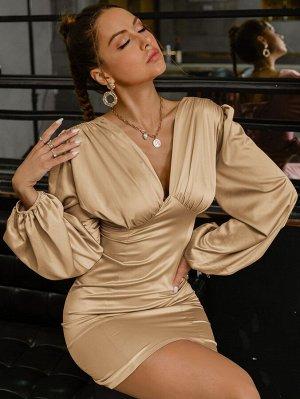 Glamaker Облегающее платье с рукавами-фонариками со сборками с молнией из атласа