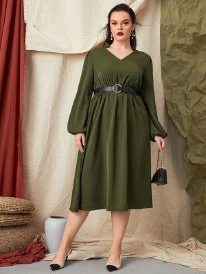 Размера плюс Платье с v-образным вырезом с рукавами-фонариками без пояса