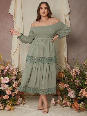Размера плюс Платье с открытыми плечами с кружевной отделкой