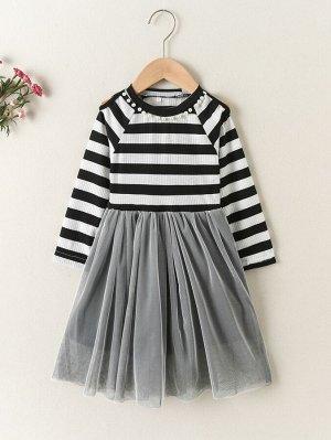Для девочек Платье в полоску жемчугом с рукавом-реглан с сетчатой отделкой