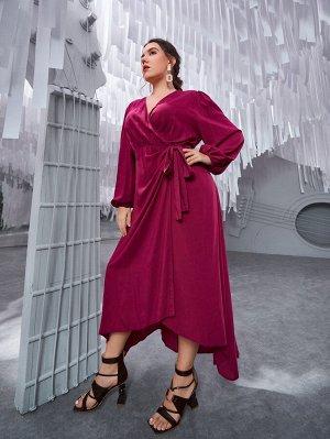 Платье с v-образным вырезом с узлом размера плюс