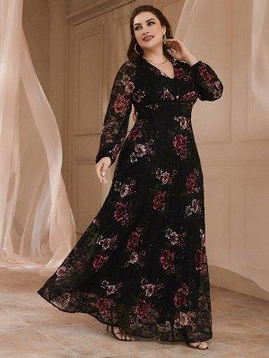 Кружевное платье макси с сетчатой вставкой размера плюс