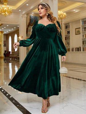 Размера плюс Вечернее платье с глубоким декольте с рукавами-фонариками со сборками бархатный