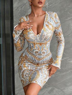 Облегающее платье блестками с рисунком с глубоким вырезом