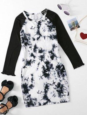 Для девочек Платье с принтом тай-дай с рукавом-реглан с волнистой отделкой