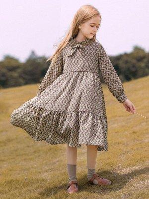 Платье с принтом с узлом с оборками из шифона для девочек