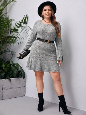 Размера плюс Платье-свитер с оборками без пояса