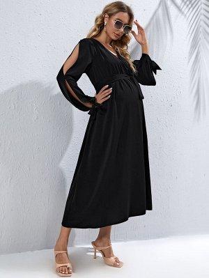 Платье с v-образным воротником для беременных